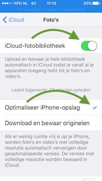 iPhone foto-opslag en synchronisatie